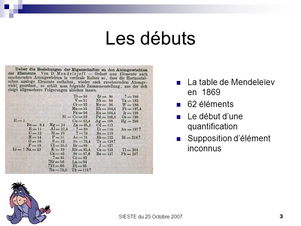 Les débuts La table de Mendeleïev en 1869 62 éléments