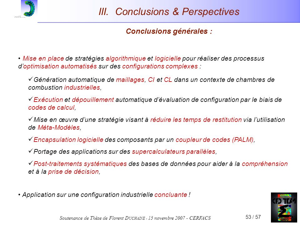 III. Conclusions & Perspectives