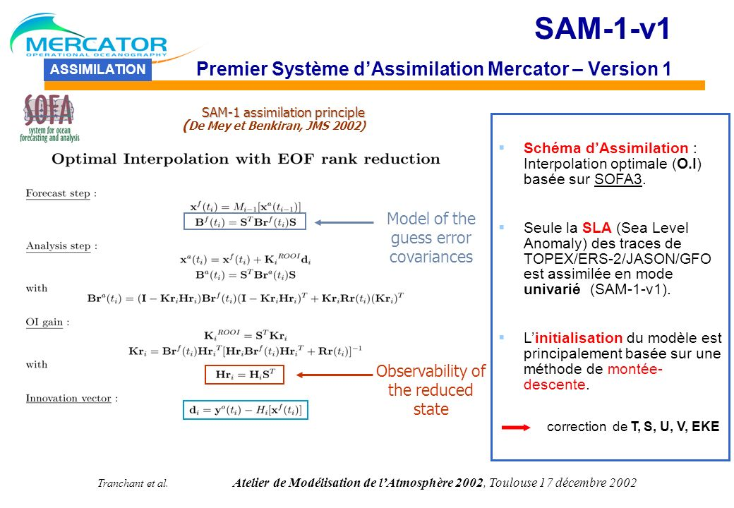 SAM-1-v1 Premier Système d'Assimilation Mercator – Version 1