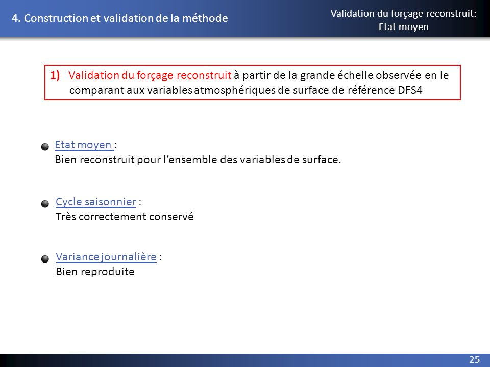 Validation du forçage reconstruit: