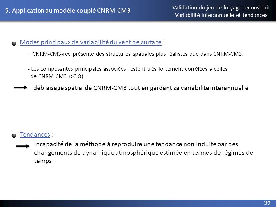 5. Application au modèle couplé CNRM-CM3