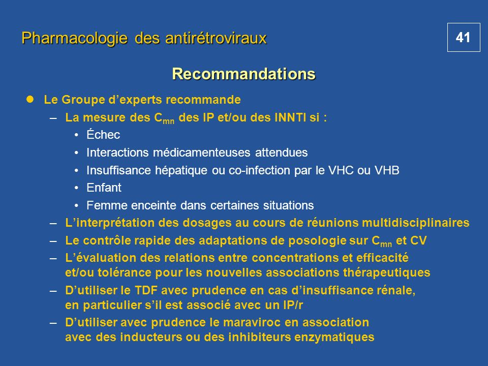 Pharmacologie des antirétroviraux