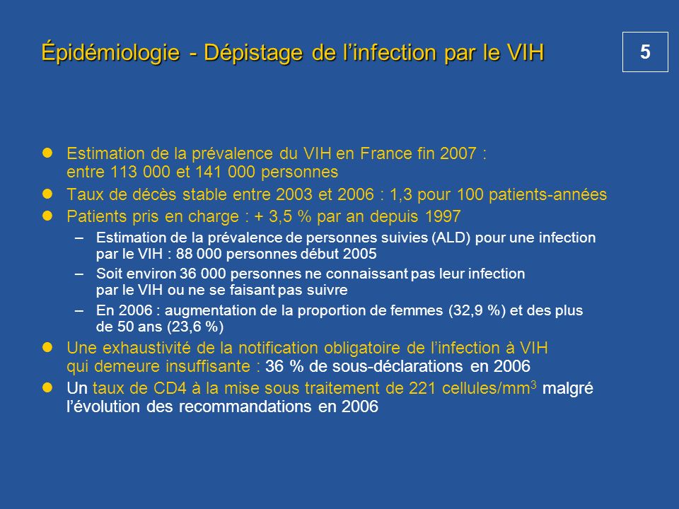 Épidémiologie - Dépistage de l'infection par le VIH