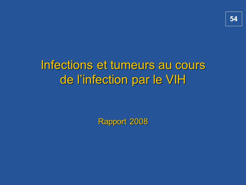 Infections et tumeurs au cours de l'infection par le VIH Rapport 2008