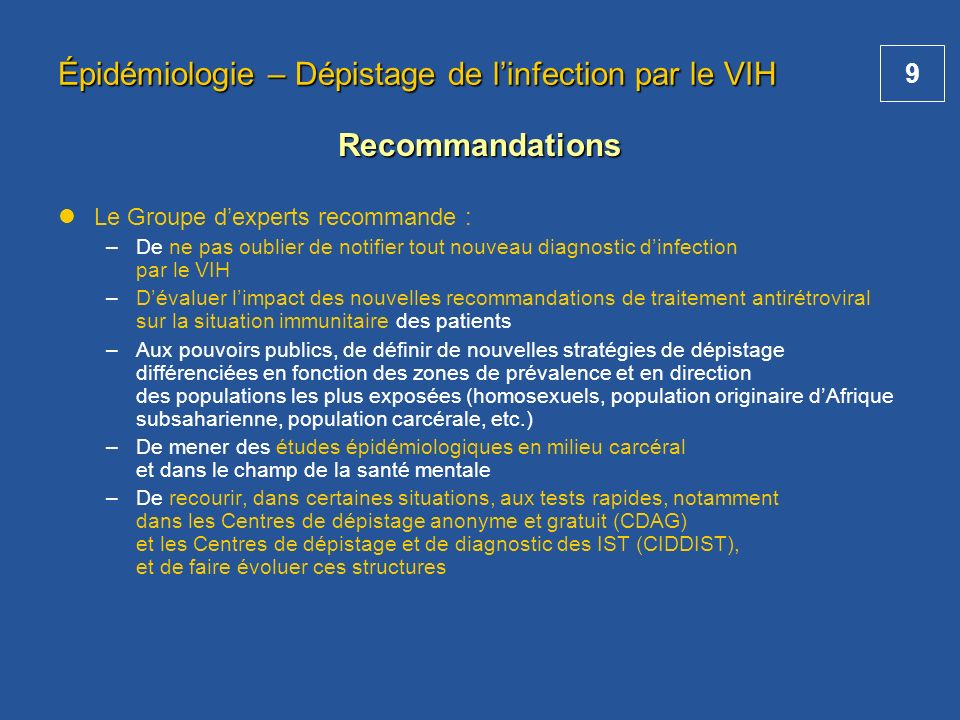Épidémiologie – Dépistage de l'infection par le VIH