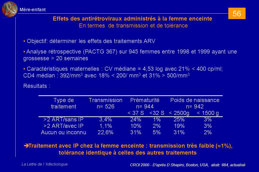 56 Effets des antirétroviraux administrés à la femme enceinte En termes de transmission et de tolérance.
