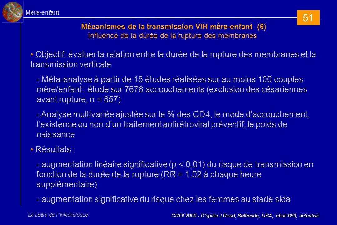 51 Mécanismes de la transmission VIH mère-enfant (6) Influence de la durée de la rupture des membranes.