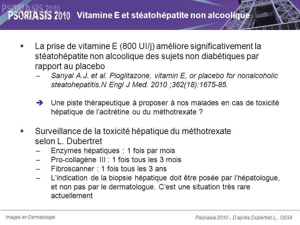 Vitamine E et stéatohépatite non alcoolique