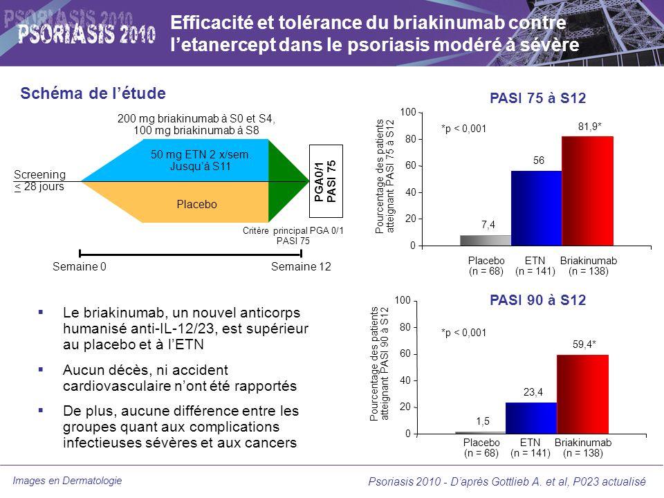 Efficacité et tolérance du briakinumab contre l'etanercept dans le psoriasis modéré à sévère