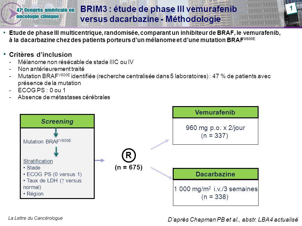 BRIM3 : étude de phase III vemurafenib versus dacarbazine - Méthodologie