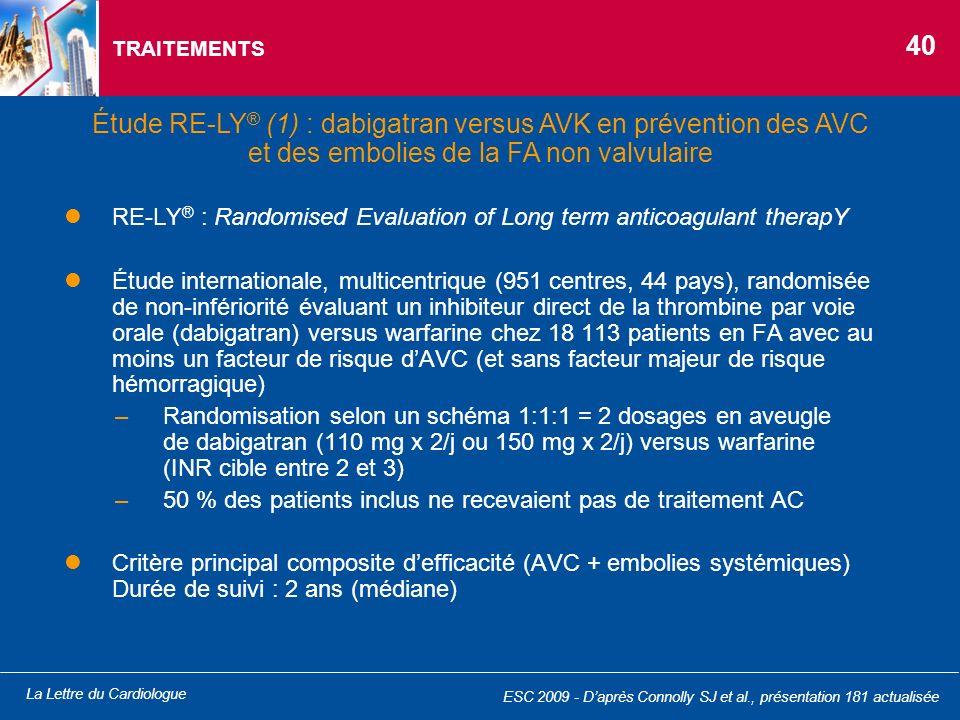 TRAITEMENTS 40. Étude RE-LY® (1) : dabigatran versus AVK en prévention des AVC et des embolies de la FA non valvulaire.