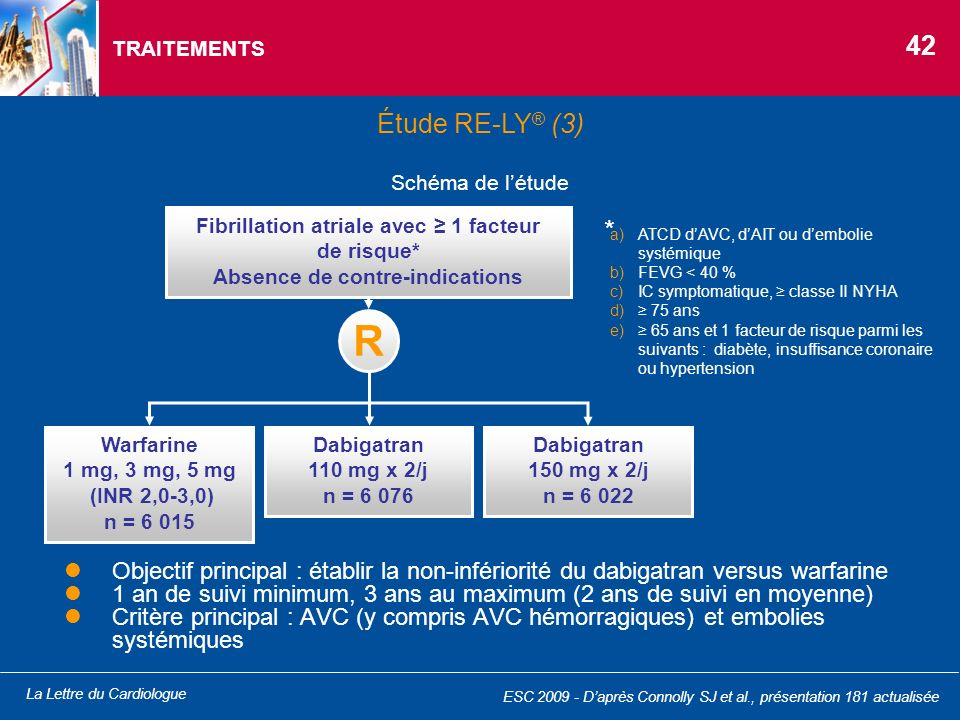 TRAITEMENTS 42. Étude RE-LY® (3) Schéma de l'étude. Fibrillation atriale avec ≥ 1 facteur de risque*