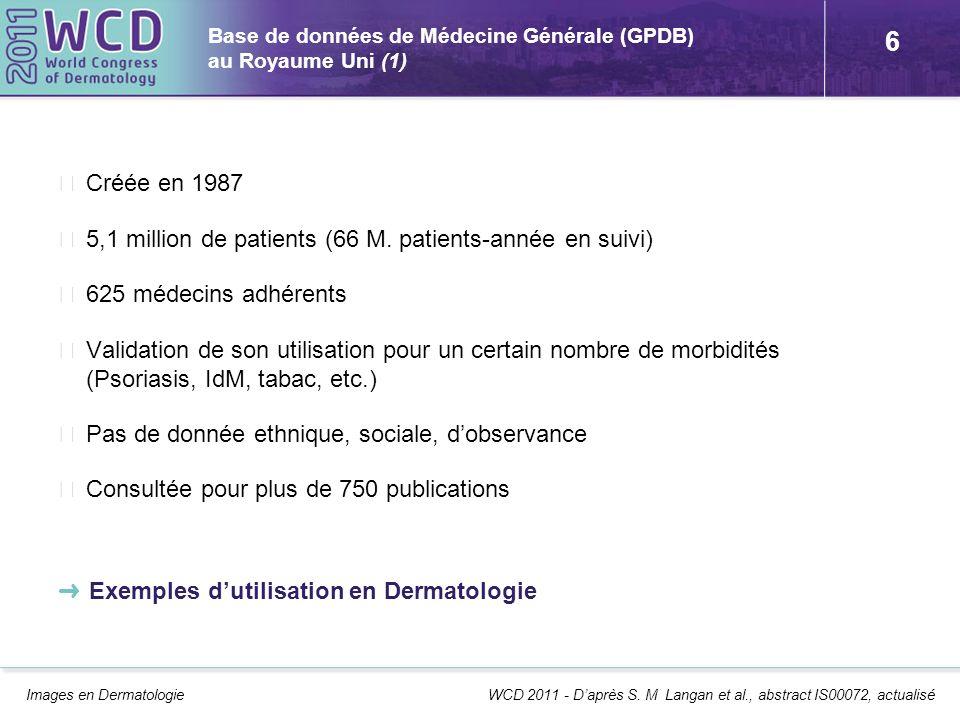 Base de données de Médecine Générale (GPDB) au Royaume Uni (1)