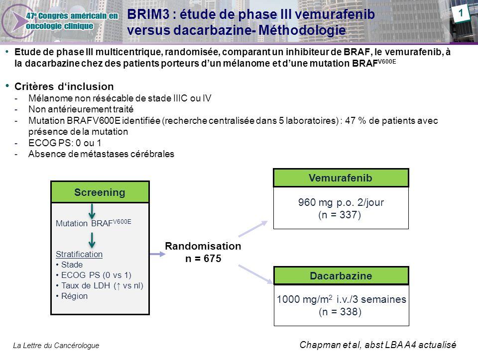 BRIM3 : étude de phase III vemurafenib versus dacarbazine- Méthodologie