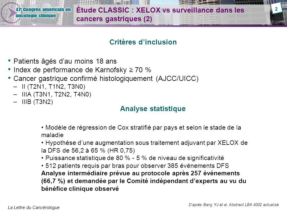 Étude CLASSIC : XELOX vs surveillance dans les cancers gastriques (2)