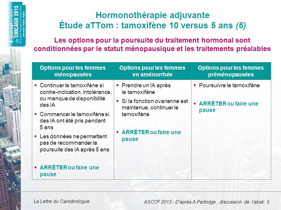 Hormonothérapie adjuvante Étude aTTom : tamoxifène 10 versus 5 ans (6)