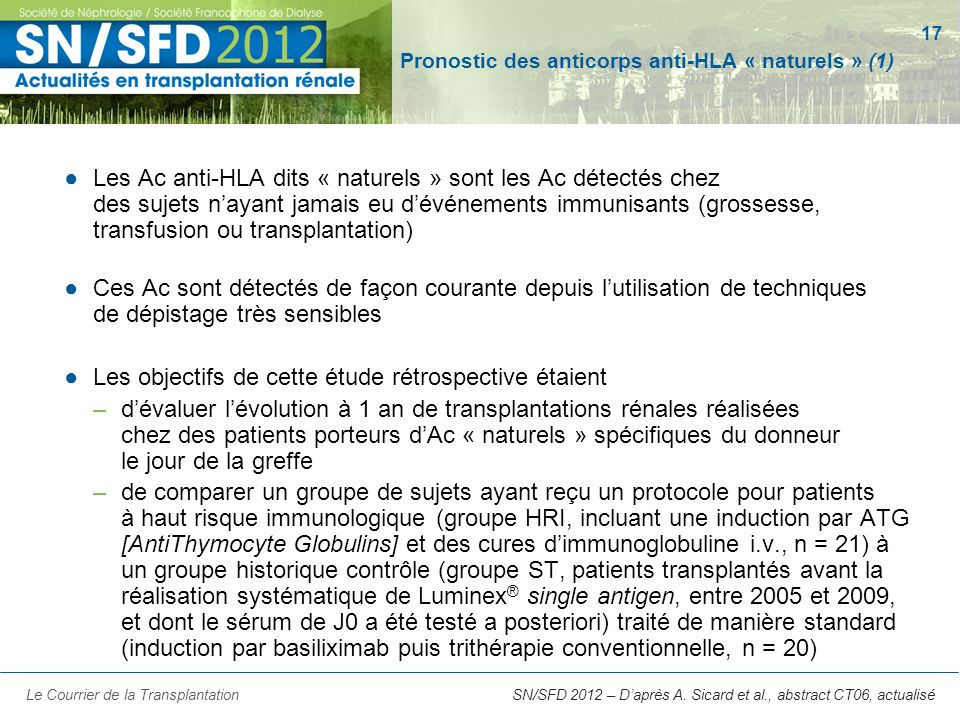 Pronostic des anticorps anti-HLA « naturels » (1)