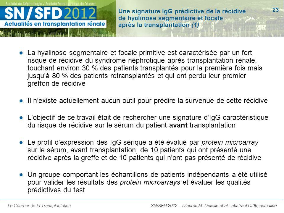 Une signature IgG prédictive de la récidive de hyalinose segmentaire et focale après la transplantation (1)