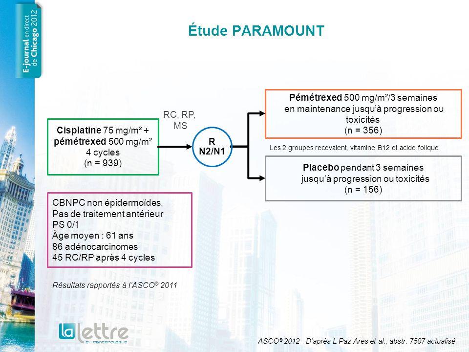 Étude PARAMOUNT Pémétrexed 500 mg/m²/3 semaines