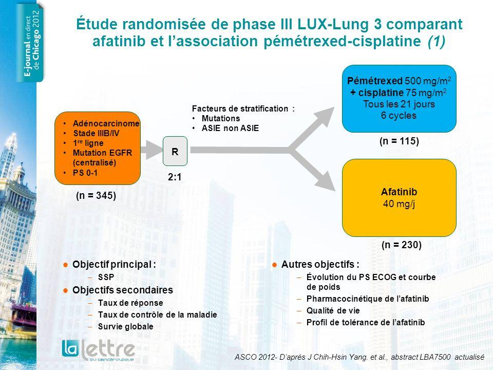 Étude randomisée de phase III LUX-Lung 3 comparant afatinib et l'association pémétrexed-cisplatine (1)