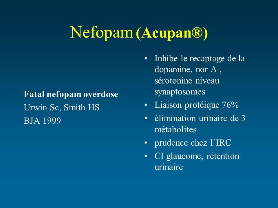 Nefopam (Acupan®) Inhibe le recaptage de la dopamine, nor A , sérotonine niveau synaptosomes. Liaison protéique 76%
