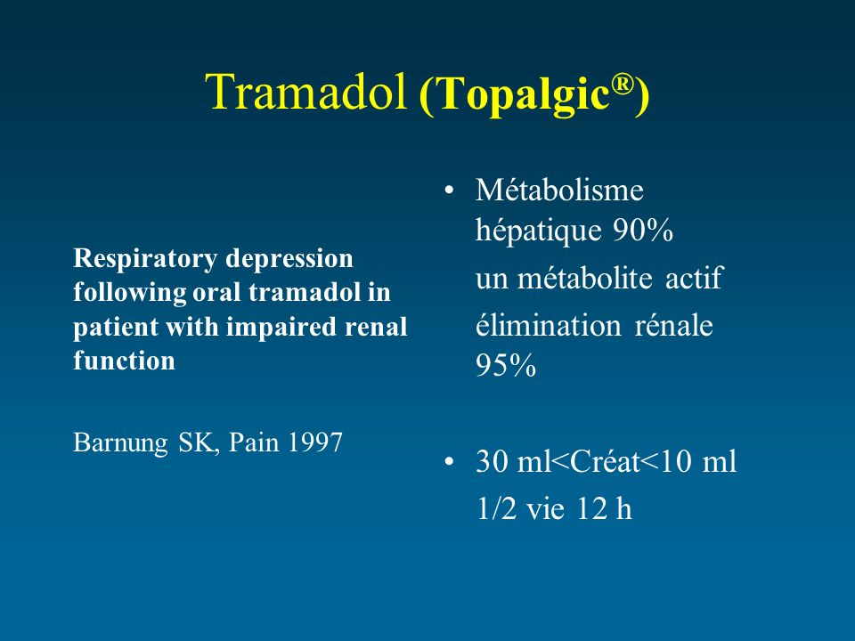 Tramadol (Topalgic®) Métabolisme hépatique 90% un métabolite actif