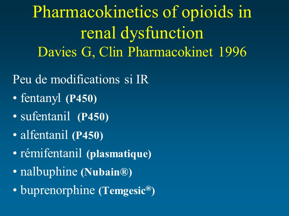Pharmacokinetics of opioids in renal dysfunction Davies G, Clin Pharmacokinet 1996