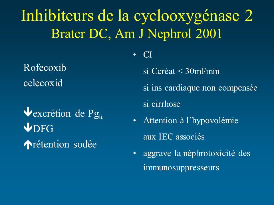 Inhibiteurs de la cyclooxygénase 2 Brater DC, Am J Nephrol 2001