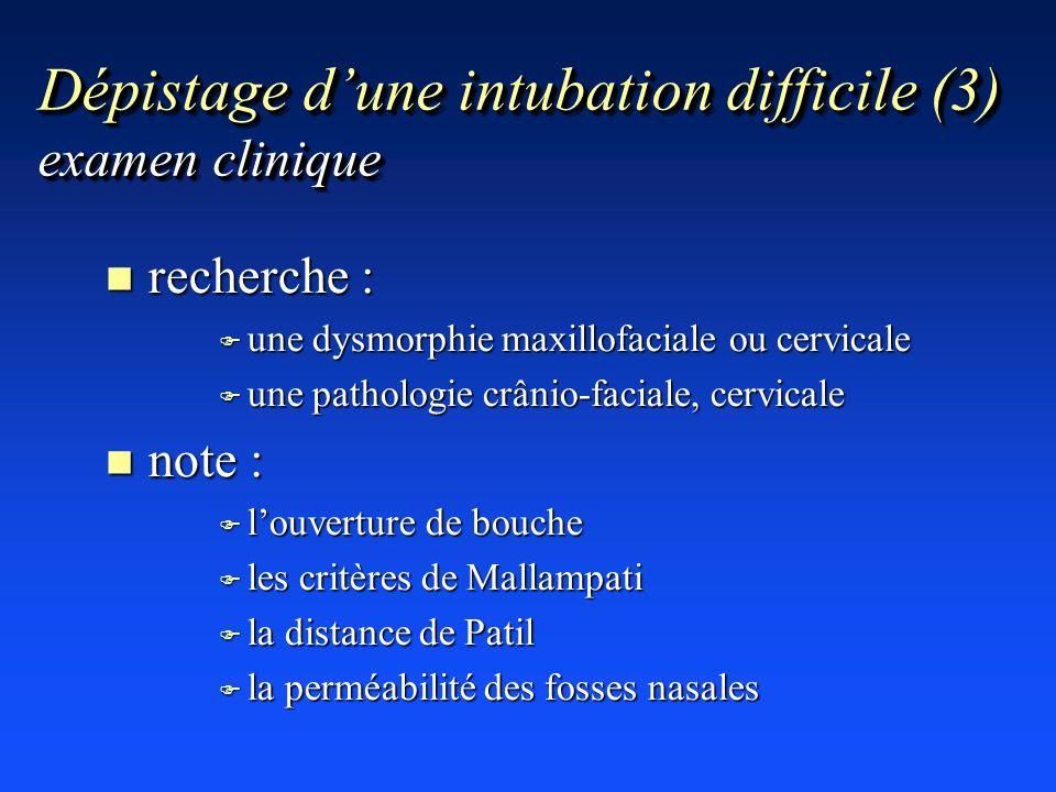 Dépistage d'une intubation difficile (3) examen clinique