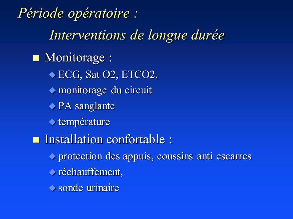 Période opératoire : Interventions de longue durée