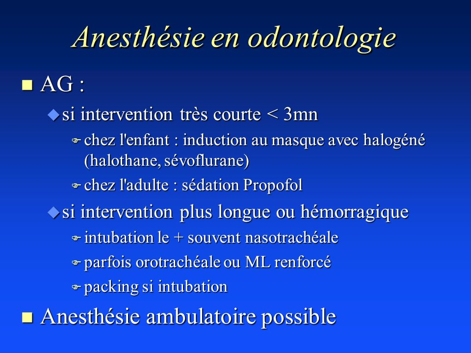 Anesthésie en odontologie
