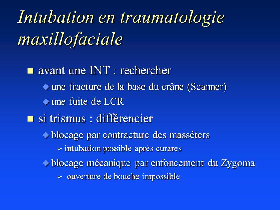 Intubation en traumatologie maxillofaciale