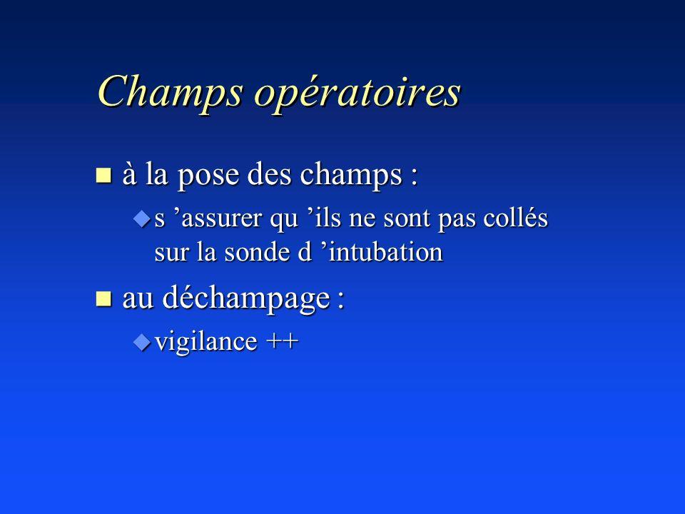 Champs opératoires à la pose des champs : au déchampage :