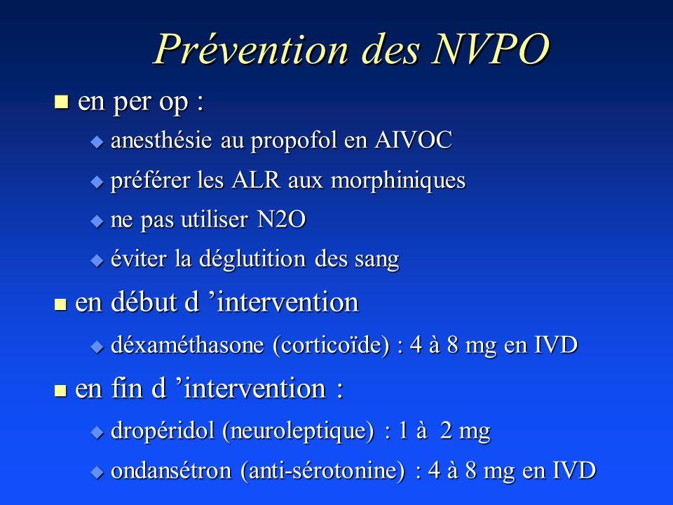 Prévention des NVPO en per op : en début d 'intervention