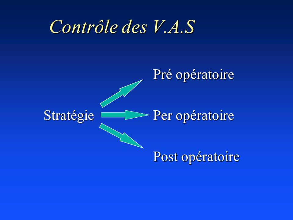Contrôle des V.A.S Pré opératoire Stratégie Per opératoire