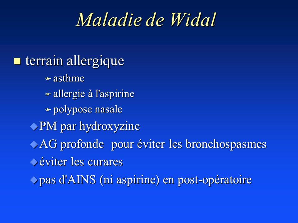 Maladie de Widal terrain allergique PM par hydroxyzine