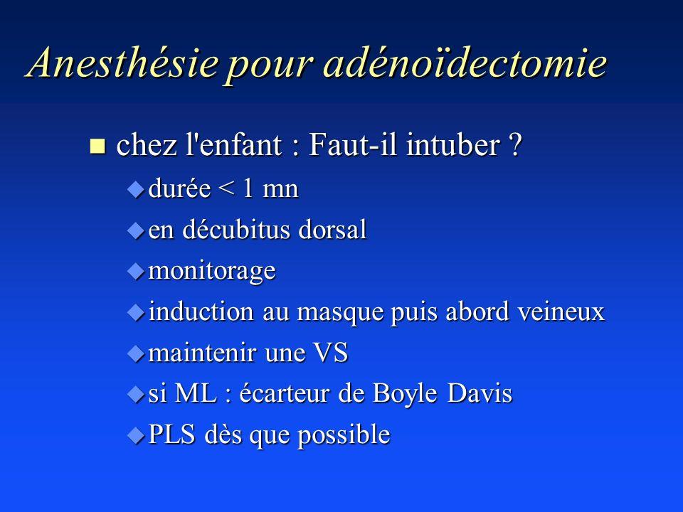 Anesthésie pour adénoïdectomie