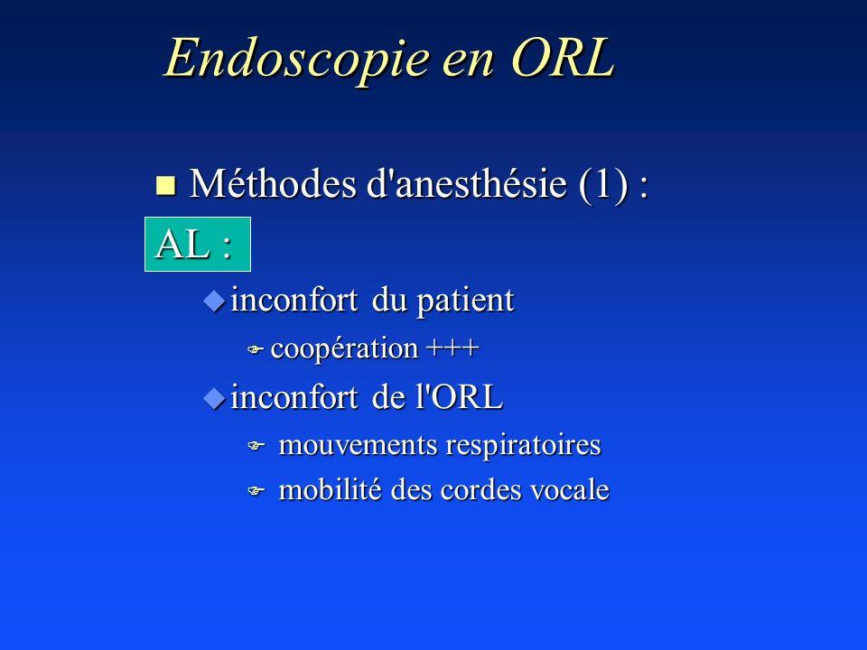 Endoscopie en ORL Méthodes d anesthésie (1) : AL :