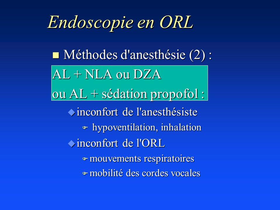 Endoscopie en ORL Méthodes d anesthésie (2) : AL + NLA ou DZA