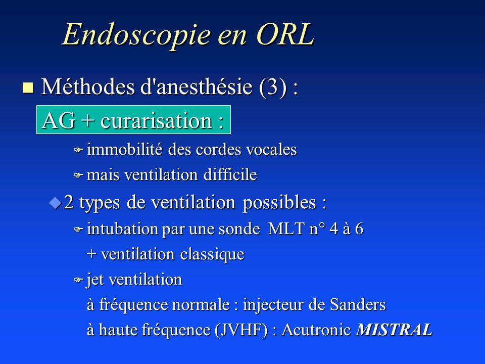 Endoscopie en ORL Méthodes d anesthésie (3) : AG + curarisation :