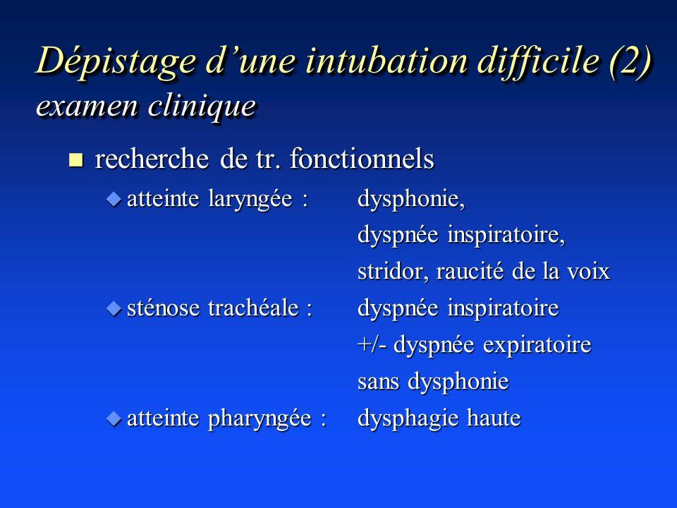 Dépistage d'une intubation difficile (2) examen clinique