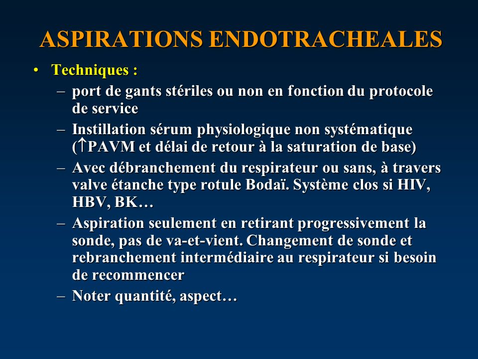 ASPIRATIONS ENDOTRACHEALES