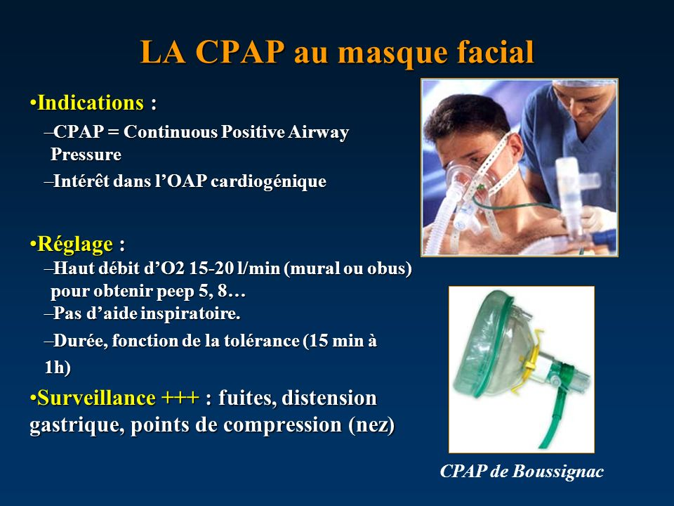 LA CPAP au masque facial