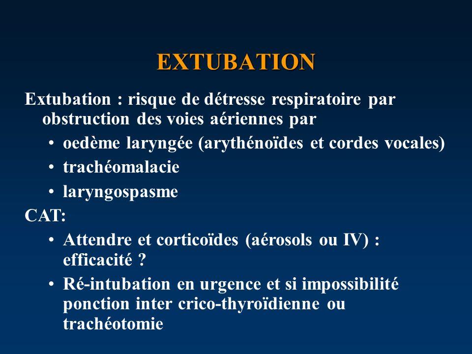 EXTUBATION Extubation : risque de détresse respiratoire par obstruction des voies aériennes par. oedème laryngée (arythénoïdes et cordes vocales)