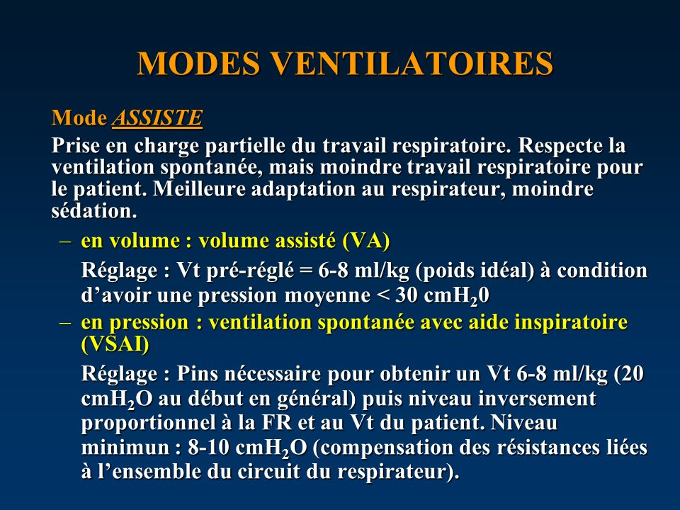MODES VENTILATOIRES Mode ASSISTE
