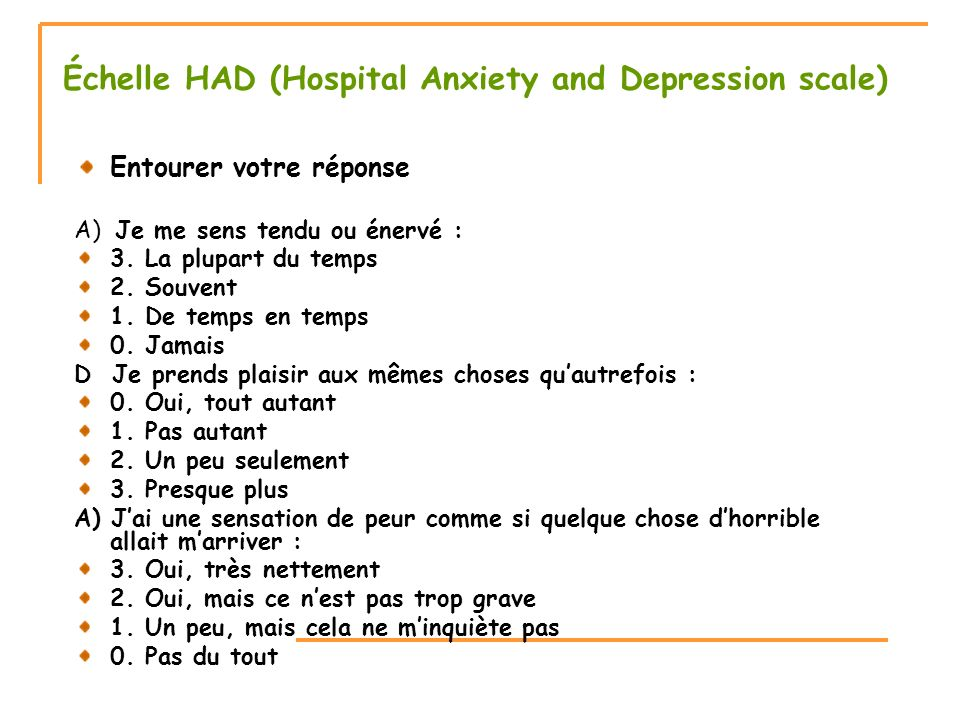 Échelle HAD (Hospital Anxiety and Depression scale)