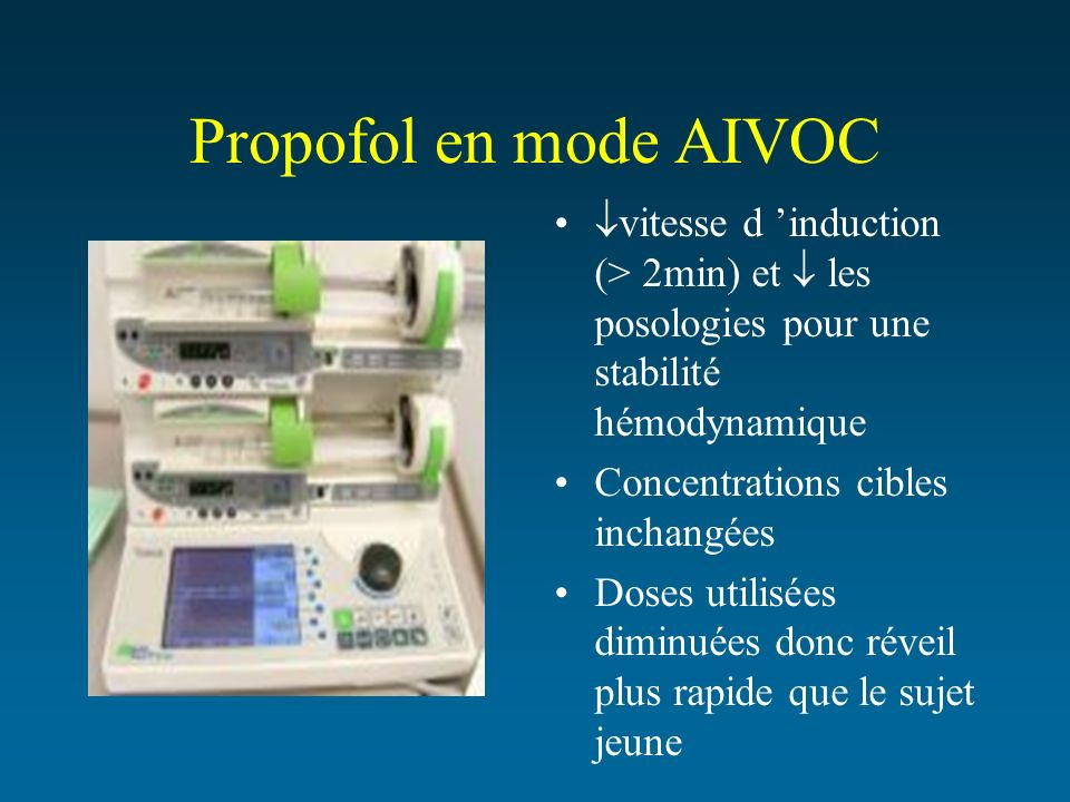 Propofol en mode AIVOCvitesse d 'induction (> 2min) et  les posologies pour une stabilité hémodynamique.
