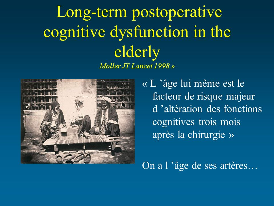 Long-term postoperative cognitive dysfunction in the elderly Moller JT Lancet 1998 »