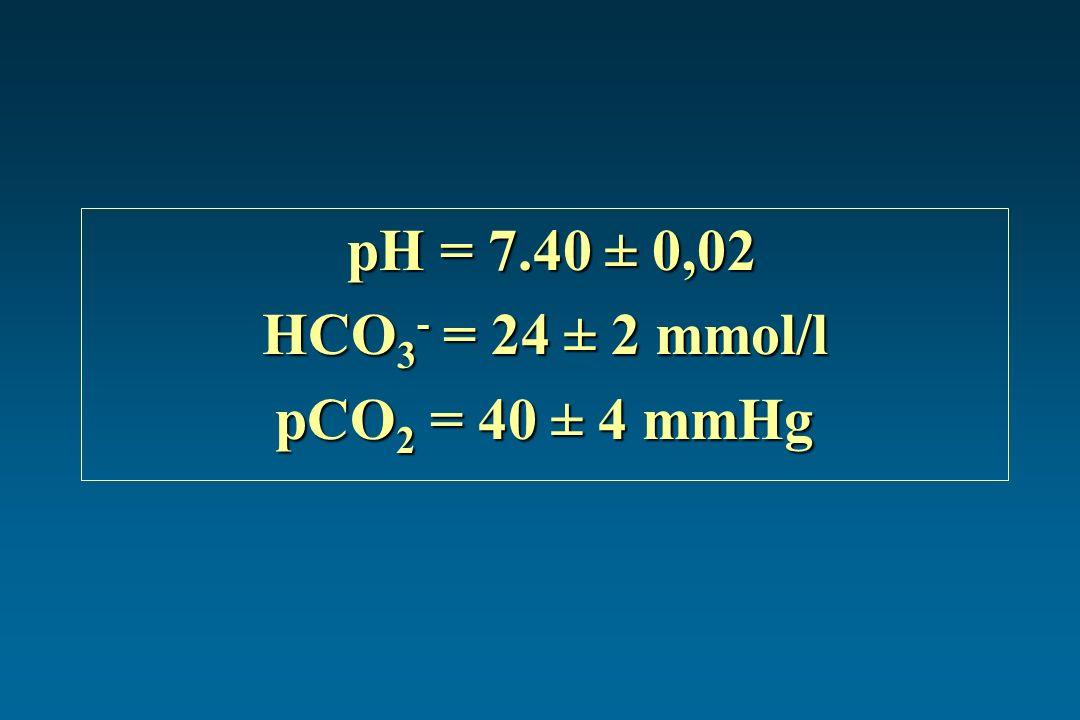 pH = 7.40 ± 0,02 HCO3- = 24 ± 2 mmol/l pCO2 = 40 ± 4 mmHg