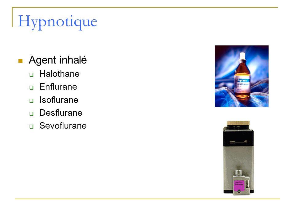 Hypnotique Agent inhalé Halothane Enflurane Isoflurane Desflurane